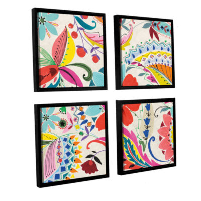 Brushstone Boho Paisley II 4-pc. Square Floater Framed Canvas Wall Art