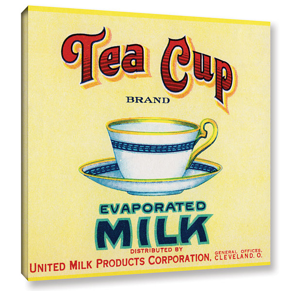 Brushstone Tea Cup Brand Evaporated Milk Product Label  c.1910 Gallery Wrapped Canvas Wall Art