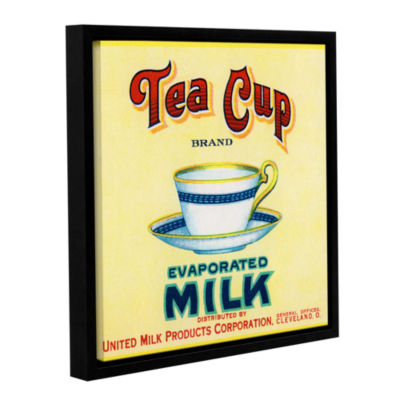 Brushstone Tea Cup Brand Evaporated Milk Product Label  c.1910 Gallery Wrapped Floater-Framed CanvasWall Art