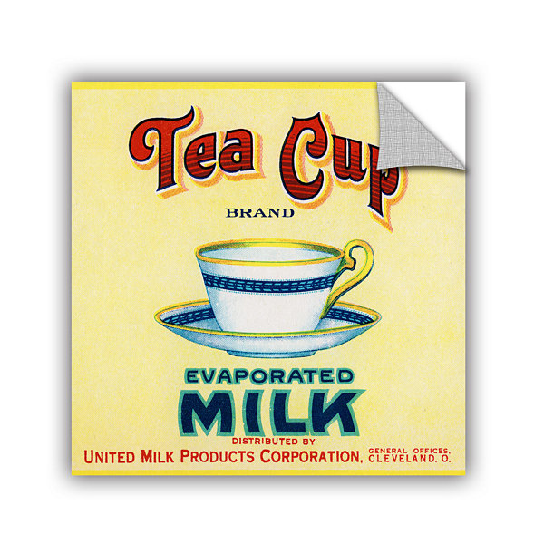 Brushstone Tea Cup Brand Evaporated Milk Product Label  c.1910 Removable Wall Decal
