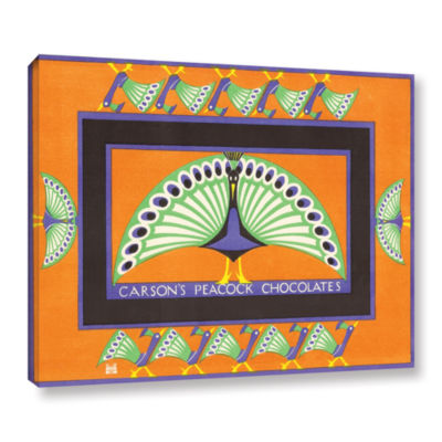 Brushstone Vintage Chocolate Box with Peacock Design 1924 Gallery Wrapped Canvas Wall Art