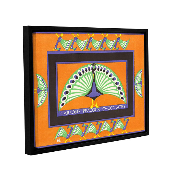 Brushstone Vintage Chocolate Box with Peacock Design 1924 Gallery Wrapped Floater-Framed Canvas WallArt