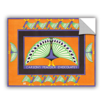 Brushstone Vintage Chocolate Box with Peacock Design 1924 Removable Wall Decal