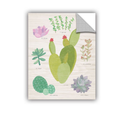 Brushstone Succulent Chart III On Wood Removable Wall Decal