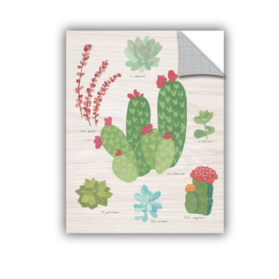 Brushstone Succulent Chart IV On Wood Removable Wall Decal