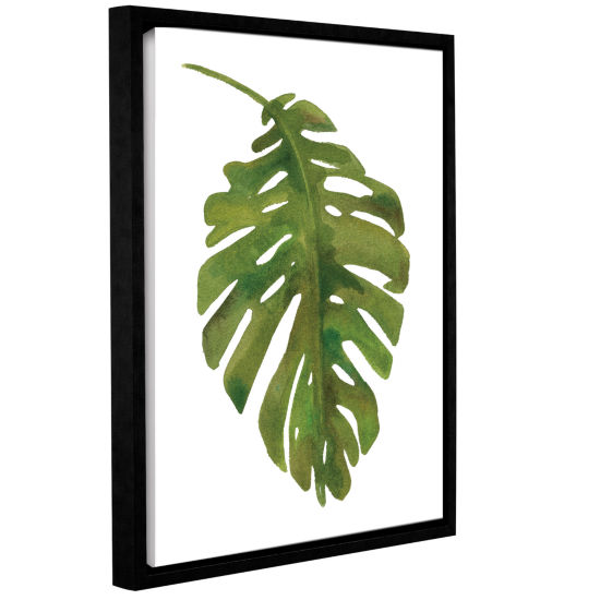 Brushstone Tropical Palm I Gallery Wrapped Floater-Framed Canvas Wall Art