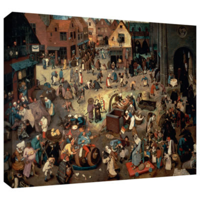 Brushstone Fight between Carnival and Lent GalleryWrapped Canvas Wall Art