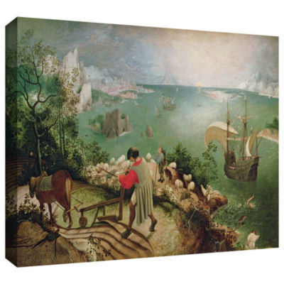 Brushstone Landscape with The Fall of Icarus Gallery Wrapped Canvas Wall Art