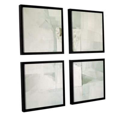 Brushstone White 4-pc. Square Floater Framed Canvas Wall Art