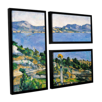 Brushstone L'Estaque of The Bay of Marseilles 3-pc. Flag Floater Framed Canvas Wall Art
