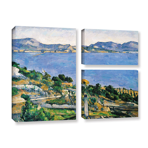 Brushstone L'Estaque of The Bay of Marseilles 3-pc. Flag Gallery Wrapped Canvas Wall Art