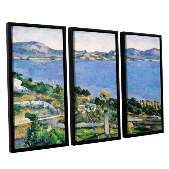 Brushstone L'Estaque of The Bay of Marseilles 3-pc. Floater Framed Canvas Wall Art