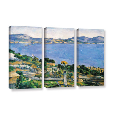 Brushstone L'Estaque of The Bay of Marseilles 3-pc. Gallery Wrapped Canvas Wall Art