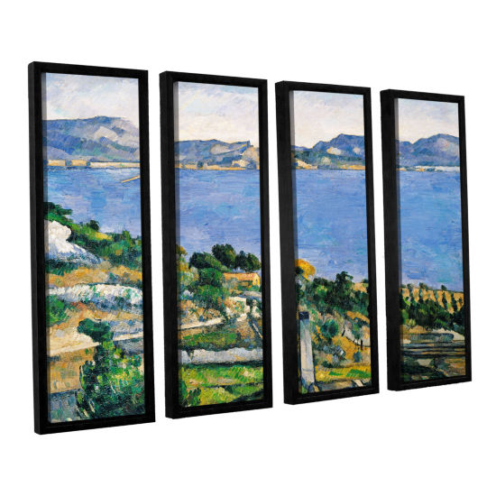 Brushstone L'Estaque of The Bay of Marseilles 4-pc. Floater Framed Canvas Wall Art