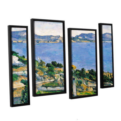 Brushstone L'Estaque of The Bay of Marseilles 4-pc. Floater Framed Staggered Canvas Wall Art