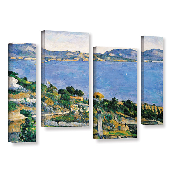 Brushstone L'Estaque of The Bay of Marseilles 4-pc. Gallery Wrapped Staggered Canvas Wall Art