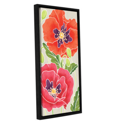 Brushstone Sunshine Poppies I Gallery Wrapped Floater-Framed Canvas Wall Art