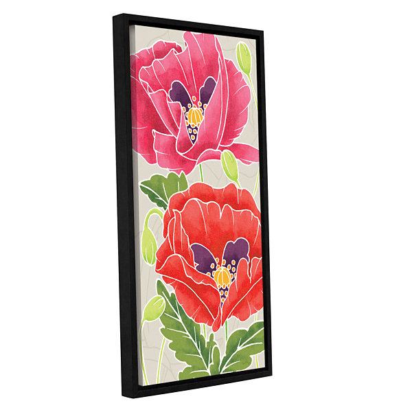 Brushstone Sunshine Poppies II Gallery Wrapped Floater-Framed Canvas Wall Art