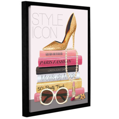 Brushstone Paris Style II Gold and Black Gallery Wrapped Floater-Framed Canvas Wall Art