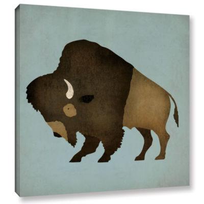 Brushstone Buffalo Bison I Gallery Wrapped CanvasWall Art