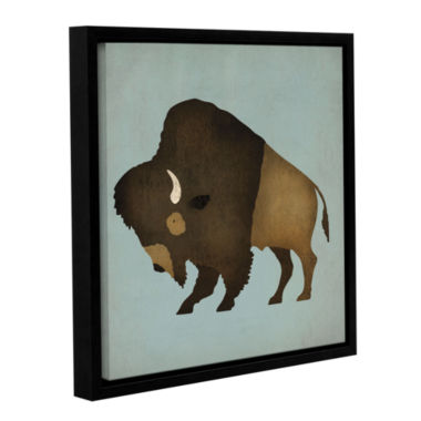 Brushstone Buffalo Bison I Gallery Wrapped Floater-Framed Canvas Wall Art