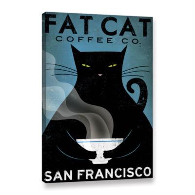 Brushstone Cat Coffee Gallery Wrapped Canvas WallArt