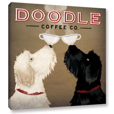 Brushstone Doodle Coffee Double IV Gallery WrappedCanvas Wall Art