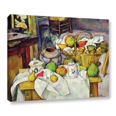 Brushstone Still Life with Basket Gallery WrappedCanvas Wall Art
