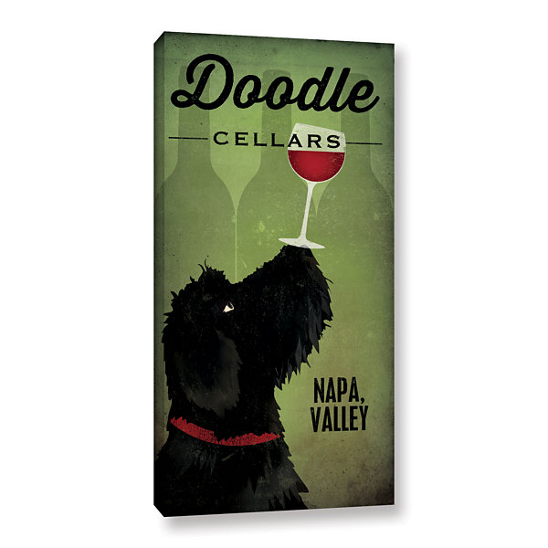 Brushstone Doodle Wine II Black Dog Gallery Wrapped Canvas Wall Art