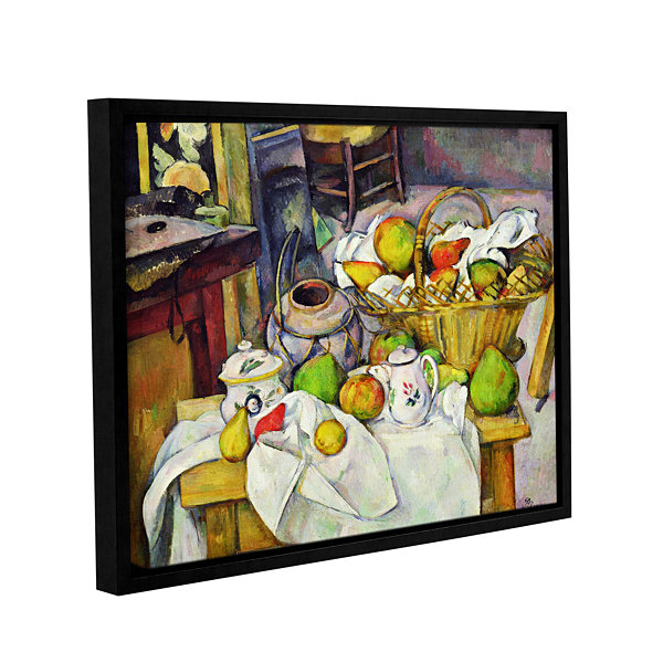 Brushstone Still Life with Basket Gallery WrappedFloater-Framed Canvas Wall Art