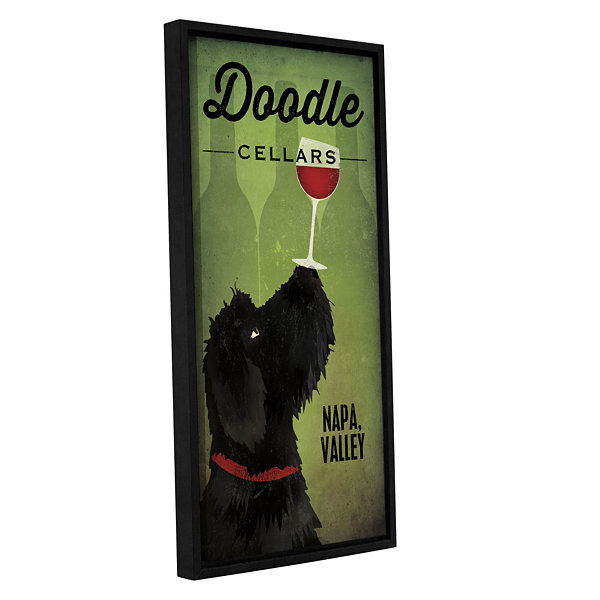 Brushstone Doodle Wine II Black Dog Gallery Wrapped Floater-Framed Canvas Wall Art