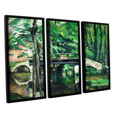 Brushstone The Bridge at Maincy or The Bridge at Mennecy or The Little Bridge 3-pc. Floater Framed Canvas Wall Art