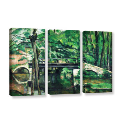 Brushstone The Bridge at Maincy or The Bridge at Mennecy or The Little Bridge 3-pc. Gallery WrappedCanvas Wall Art