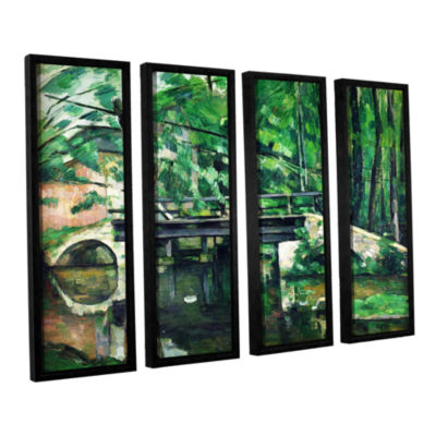 Brushstone The Bridge at Maincy or The Bridge at Mennecy or The Little Bridge 4-pc. Floater Framed Canvas Wall Art
