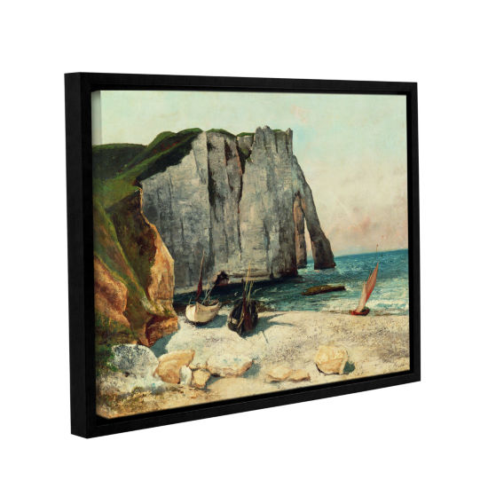 Brushstone The Cliffs Of Etretat The Port Of Avale1869 Gallery Wrapped Floater-Framed Canvas Wall Art
