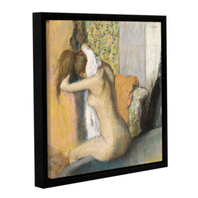 Brushstone After The Bath  Woman Drying Her Neck Gallery Wrapped Floater-Framed Canvas Wall Art