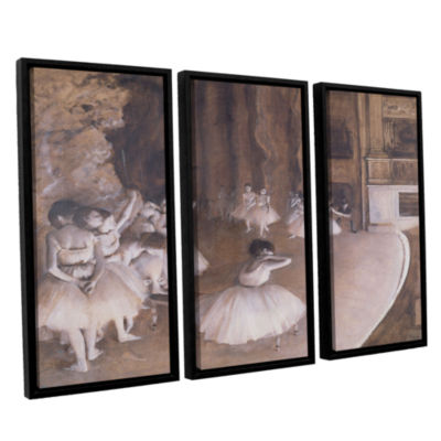 Brushstone Ballet Rehearsal on Stage 3-pc. FloaterFramed Canvas Wall Art