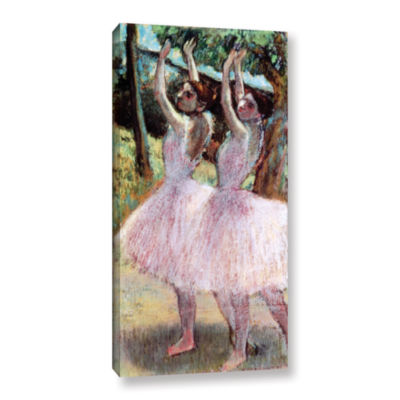 Brushstone Dancers in Violet Dresses  Arms RaisedGallery Wrapped Canvas Wall Art