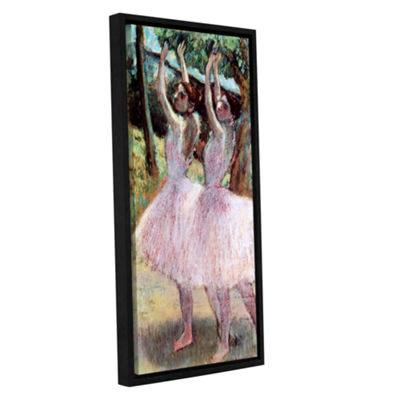 Brushstone Dancers in Violet Dresses Arms Raised Gallery Wrapped Floater-Framed Canvas Wall Art