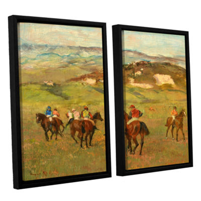 Brushstone Jockeys on Horseback Before Distant Hills 2-pc. Floater Framed Canvas Wall Art