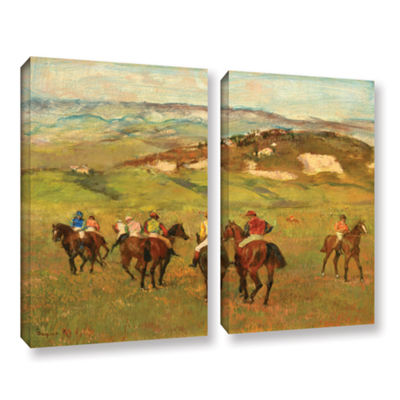 Brushstone Jockeys on Horseback Before Distant Hills 2-pc. Gallery Wrapped Canvas Wall Art