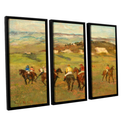 Brushstone Jockeys on Horseback Before Distant Hills 3-pc. Floater Framed Canvas Wall Art
