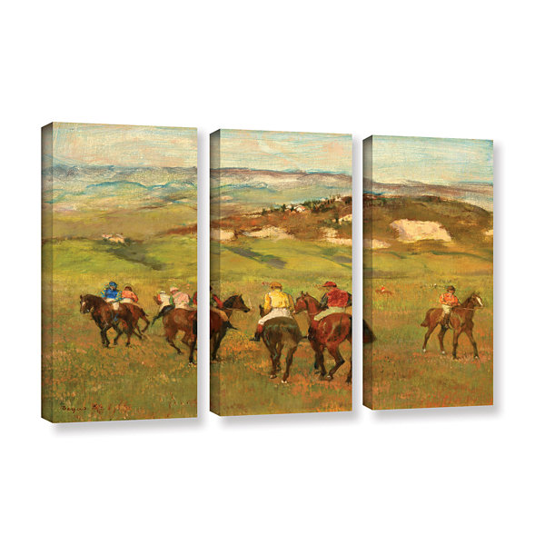 Brushstone Jockeys on Horseback Before Distant Hills 3-pc. Gallery Wrapped Canvas Wall Art