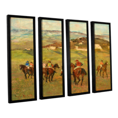 Brushstone Jockeys on Horseback Before Distant Hills 4-pc. Floater Framed Canvas Wall Art