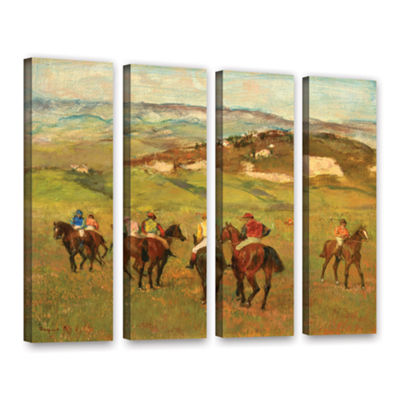 Brushstone Jockeys on Horseback Before Distant Hills 4-pc. Gallery Wrapped Canvas Wall Art
