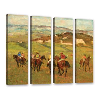 Brushstone Jockeys on Horseback Before Distant Hills 4-pc. Gallery Wrapped Canvas Wall Art
