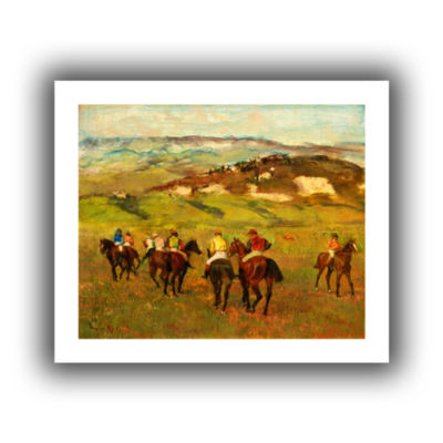 Brushstone Jockeys on Horseback Before Distant Hills Canvas Wall Art