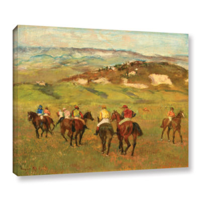 Brushstone Jockeys on Horseback Before Distant Hills Gallery Wrapped Canvas Wall Art