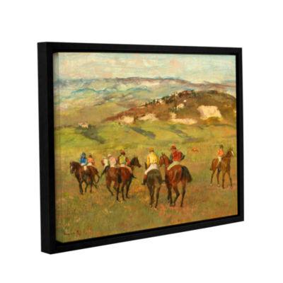 Brushstone Jockeys on Horseback Before Distant Hills Gallery Wrapped Floater-Framed Canvas Wall Art