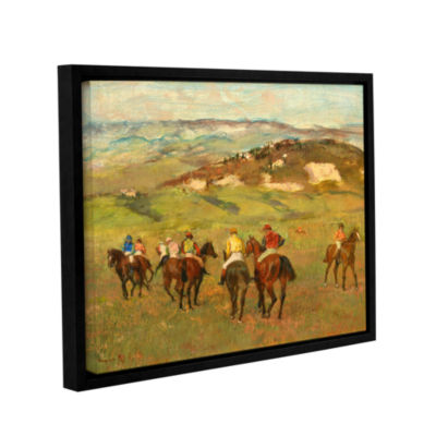 Brushstone Jockeys on Horseback Before Distant Hills Gallery Wrapped Floater-Framed Canvas Wall Art